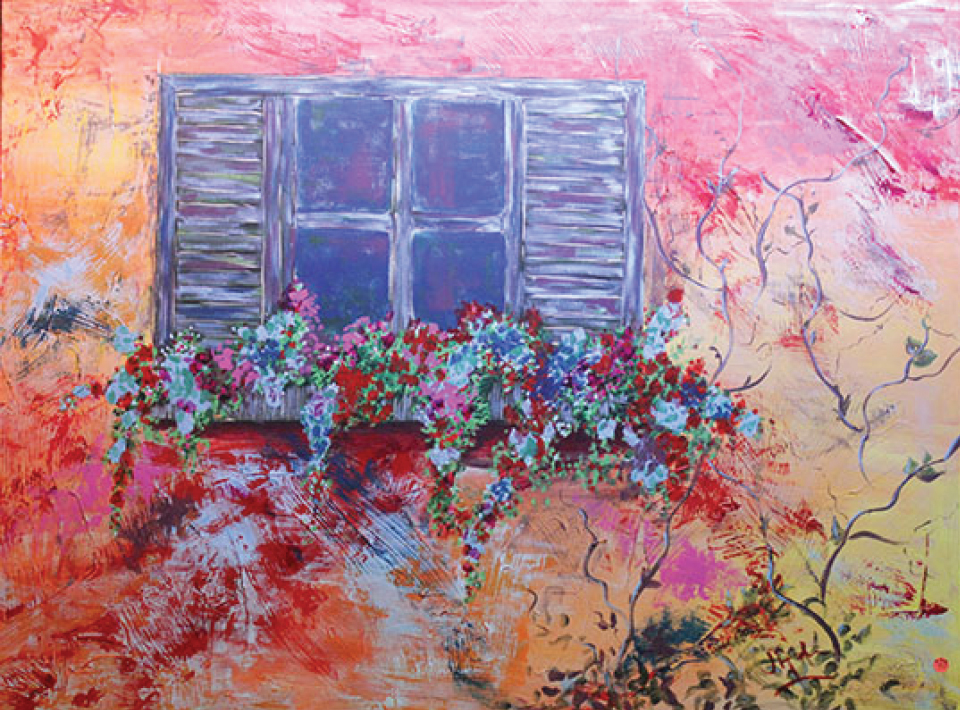 A colorful painting of a window and flowers