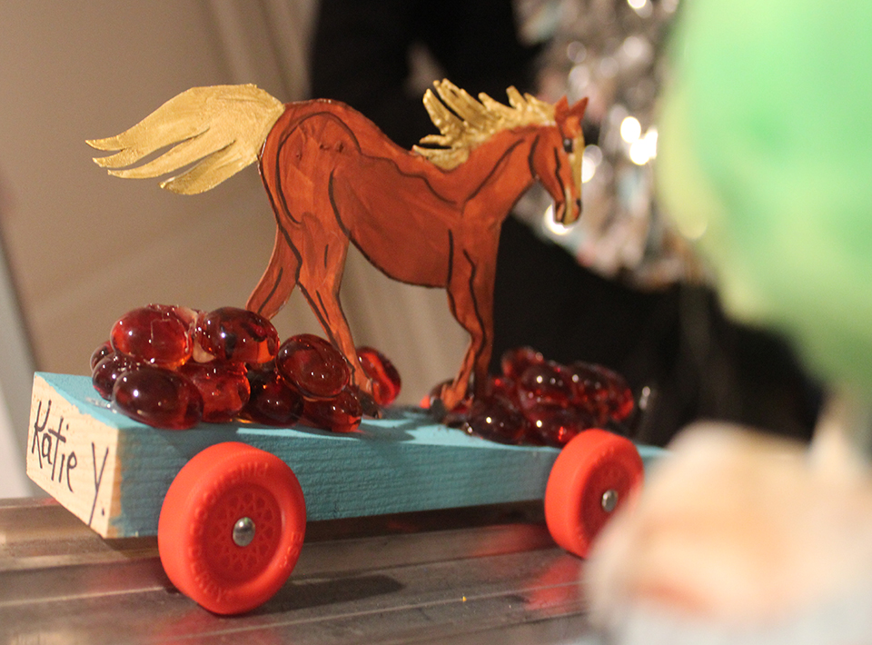 Civitan members race car designed as a fast horse