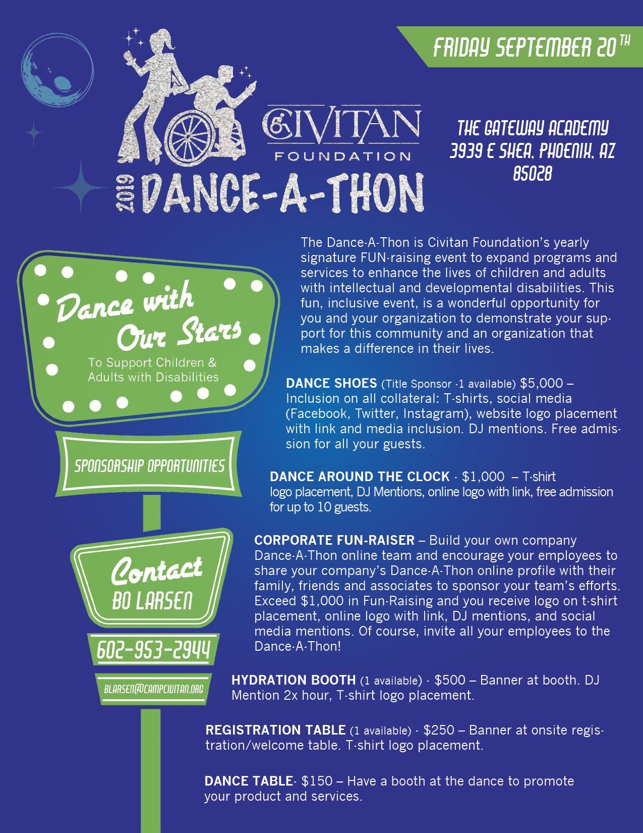 Sponsorship flier for Dance-A-Thon.