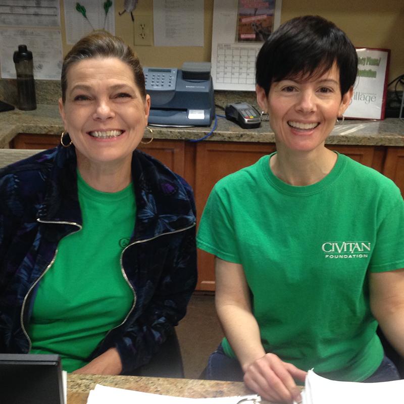 Lisa and Melissa at front desk at Civitan Village