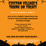 Poster promoting the Trunk or Treat event at Civitan Village on Oct. 25